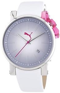 Puma Time Damen-Armbanduhr Flag- S Silver Pink Analog Quarz Leder PU102632001