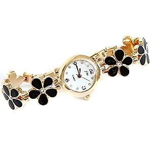 Nsstar Women Girl Korean Fashion Daisies Flower Rose Gold Bracelet Wrist Watch Black