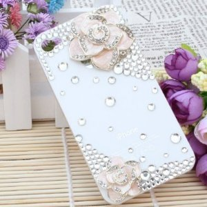 Coco Hand-made Durable iPhone 5 Hard Crystal Bling Case Skin Cover Pink Flower (with Free Diamante/ diamonds and Glue)- White Case