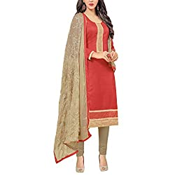 Applecreation Red Dress Material With Heavy Embroidered Matching Dupatta for Women's