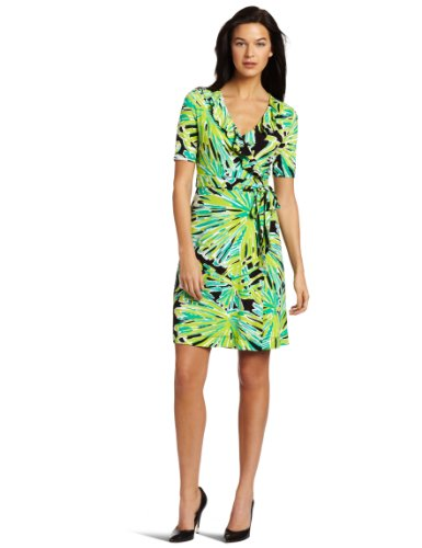 4adb1383063829 Lilly Pulitzer Women's Adalie Ruffle Wrap Dress, Black Greens With Envy,  Small