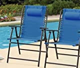 Mainstays Bungee Chairs, Set of 2 Chairs, Blue