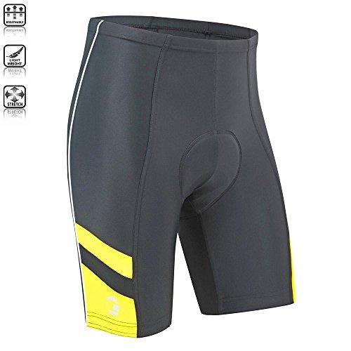 Tenn Mens Coolflo 8 Panel Padded Cycling Shorts - Black/Yellow - Lrg Lycra Cycle Shorts