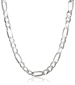 Men's 14k White Gold 9mm Figaro Chain Necklace, 26