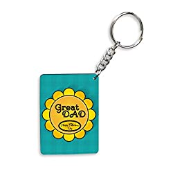 Great Dad Happy Father's Day With Yellow Flower Gifts For Father's Day Rectangle Wooden Keychain