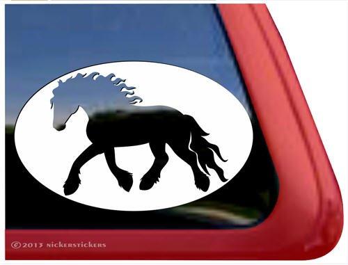 Friesian Horse Trailer Vinyl Window Decal Sticker front-386699