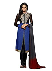 Dlines Blue Coloured Chanderi Embroidery Salwar Suit
