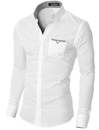 MODERNO Slim Fit Coton Casual Chemise Homme Blanc EU S