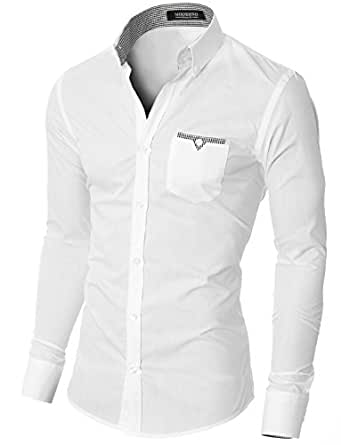 MODERNO Slim Fit Coton Casual Chemise Homme (VGD063LS) Blanc EU S