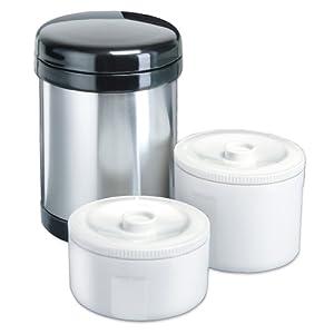 Isosteel VA-9680 Contenitori termici per alimenti con 2 inserti di plastica separati, 1 L, acciaio INOX 18/8