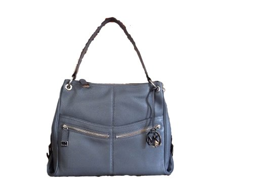 Michael Kors Large Layton Shoulder Bag In Dark Slate Grey / Gray Leather