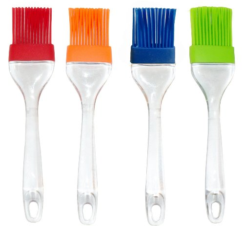 Silicone Basting Pastry & Bbq Brush, Set of 4, Colorful