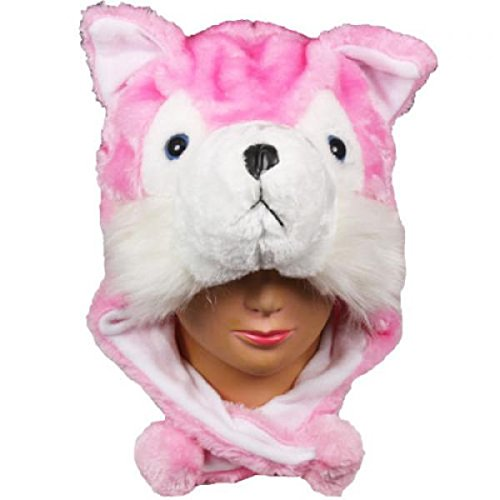 Husky Pink_New_Warm Cap Earmuff Gift Cartoon Animal Hat Fluffy Plush Cap – Unisex (US Seller)