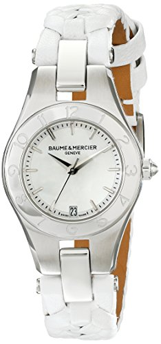 Baume and Mercier Linea Mother Pearl Stainless Steel White Leather Ladies Watch 10117
