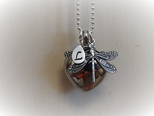 Cremation Jewelry Dragonfly Custom Unique silver heart cremation urn for ashes memorial for ashes hair funeral flowers death of mom or loved one stillbirth miscarriage death of pet