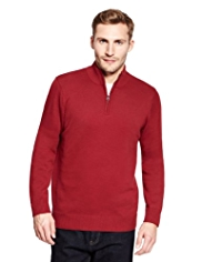 Blue Harbour Pure Cotton Half Zip Jumper