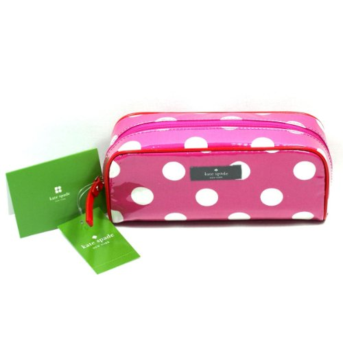 Kate Spade Henrietta Cosmetic Case Make Up Bag ~ Pink Polka Dot