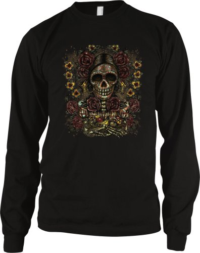 Painted Sugar Skull Mens Tattoo Thermal Shirt, Old School Dia De Los Muertos Tattoo Long Sleeve Thermal, Large, Black