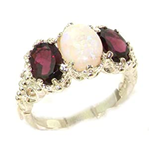Victorian Design Solid English Sterling Silver Natural Large Opal & Garnet Ladies Ring - Size 12 - Finger Sizes 5 to 12 Available - Suitable as an Anniversary ring, Engagement ring, Eternity ring, or Promise ring