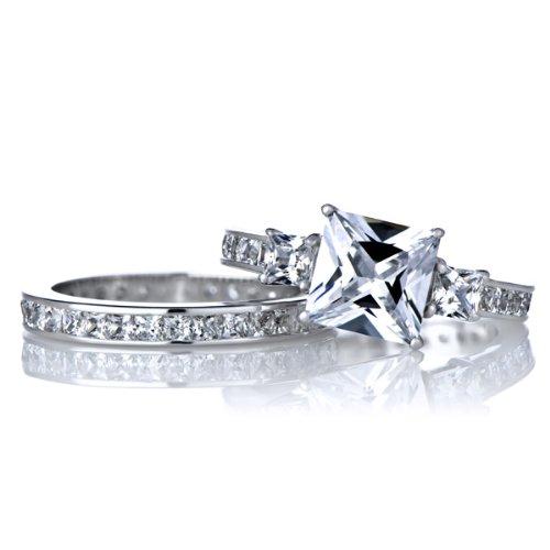 Celebrity Star Emitations Cara'S Engagement Ring Set - 2.5 Carat Princess Cut Cz Size 7