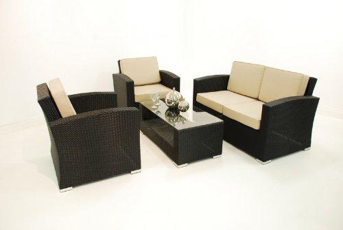 Florida Rattan Gartenmöbel sofa Tisch, 4 Stück, Schwarz/Farbe