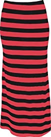 PacificPlex Womens Plus Size Striped Maxi Tube Skirt