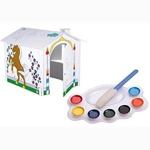 Kinderhaus Spielhaus zum Anmalen 104x88x88cm - Dschungel