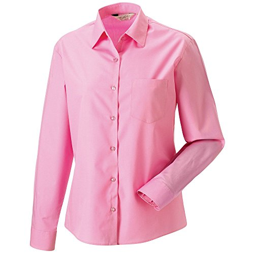 Russell Collection J936F in popeline-Camicia a maniche lunghe, in puro cotone, facile da pulire, da donna rosa Medium