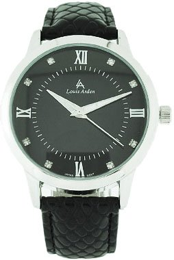 Louis Arden Women's Black Roman Numeral Diamond Vegan Watch