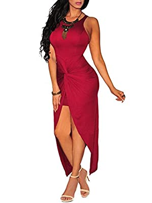 Cfanny Women's Knotted Front Slit Cocktail Dress