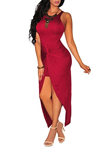 Cfanny Women's Knotted Front Slit Cocktail Dress,Cranberry,XL
