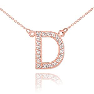 Amazon Dainty 14k Rose Gold Diamond Letter D Initial Pendant Necklace 16 Jewelry