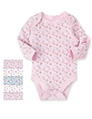 5 Pack Pure Cotton Ditsy Floral Bodysuits