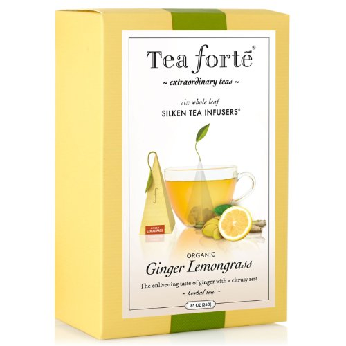 Tea Forte Gourmet Pyramid Box Tea Infusers - Ginger Lemongrass, 6 ct