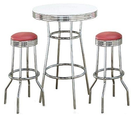 Coaster Retro Fountain Style Bar Table with White Top and Chrome Finish