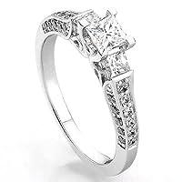 1.00 Carat (ctw) 14k White Gold Princess & Round 3 Stone Diamond Ladies Bridal Engagement Ring 1 CT from DazzlingRock