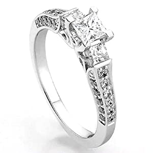 1.00 Carat (ctw) 14k White Gold Princess & Round 3 Stone Diamond Ladies Bridal Engagement Ring 1 CT (Size 7) from DazzlingRock
