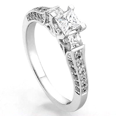 1.00 Carat (ctw) 14k White Gold Princess & Round