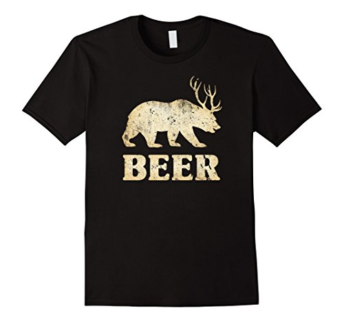 Men's Vintage Bear+Deer=Beer Funny T-Shirt XL Black (Beer Bear compare prices)