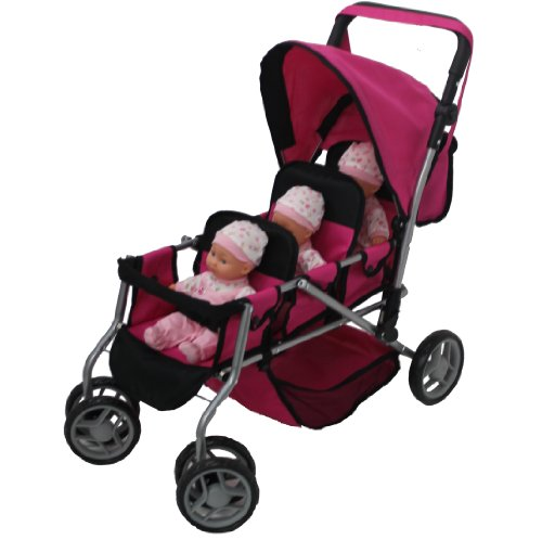 Mommy & Me Triplet Doll Pram Back To Back With Swiveling Wheels & Free Carriage Bag - 9668A front-878025