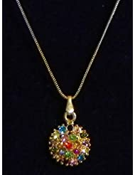 Multicolor Stone Studded Pendant With Silver And Golden Chain - Stone And Metal