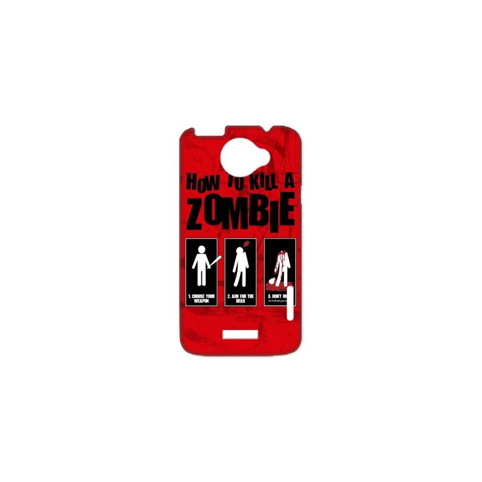 The Walking Dead How to kill a zombie Red Design Snap on HTC One X+ Durable Case Cover