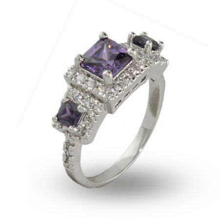Elaborate Sparkling Princess Cut Amethyst Three Stone Ring Size 6 (Sizes 5 6 7 8 9 Available)