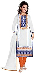 Yashvi Arts Women's White Georgette Embroidered Free Size Salwar Kameez Suit Dress Material (YA1048D)