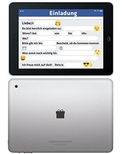 12-Tablet-Einladungskarten-zum-Kindergeburtstag-Geburtstagseinladungen-Einladungen-Geburtstag-Kinder-Jungen-Mdchen-Einladungstext-Handy-Emojis-Smileys-1-Vorlagen-Karten-Set