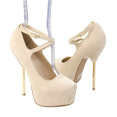 Qupid Women's TREASURE06 Gold Metal Stick Heel X-Strap Criss-Cross Rhinestone Platform Stiletto High Heel Pump Shoes, Nude Beige Faux Suede Leather (5.5 B (M) US)