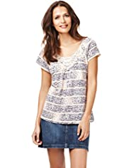 Indigo Collection Crochet Floral Striped Top