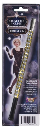 Forum Novelties Women's Vintage Hollywood Look Jeweled Cigarette Holder Costume Accessory, Black/Silver, One Size - 1