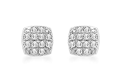 Carissima Gold 9 ct 0.10 ct Diamond Round Pave Set Stud Earrings
