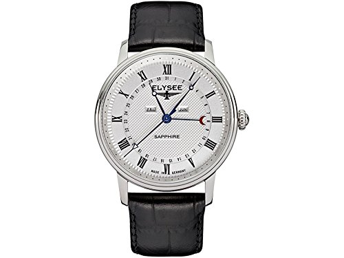 ELYSEE Made in Germany Monumentum Calendar 77000L 41mm Stainless Steel Case Black Calfskin Synthetic Sapphire Men's Watch